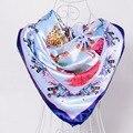 BYSIFA Invierno Satén Bufandas Wraps Bufandas Cuadradas Grandes de Colores Brillantes 90*90 cm Marca de Lujo Multi Head Scarf Bufandas azul, Rosa