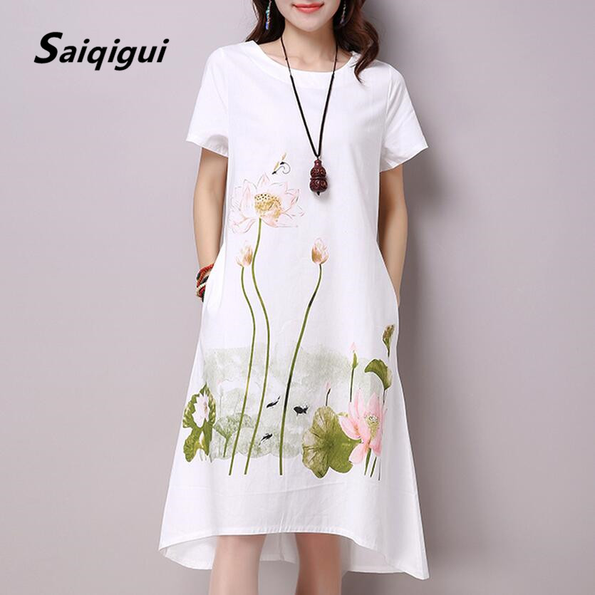 Saiqigui Summer Dress Plus Size Pendek Sleeve White Women Dress Kasual Kapas Linen Pakaian Lotus Percetakan O-Neck Vestidos de Festa