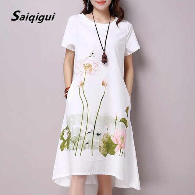 Saiqigui летнее платье плюс Размеры короткий рукав белый женское платье Повседневное хлопок белье платье Лотос с круглым вырезом и принтом Vestidos De Festa