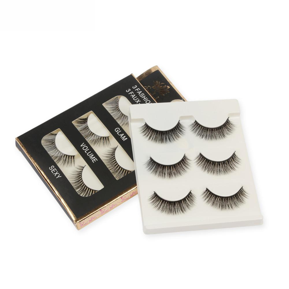 3 Pairs Mink Hair False Eyelashes 3D Natural Thick Handmade Full Strip Long Fake Eyelash Makeup Eyelashes Extension Beauty Tool