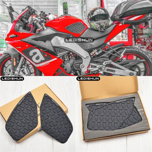オートバイのタンクパッドプロテクターステッカーデカールガス燃料膝グリップトラクションサイドアプリリア GPR125 GPR150 アプリリア RS4 125