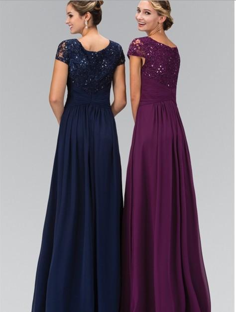 2016 Ny Designer Lang Gulv Lengde A-linje Navy Blue Modest Chiffon - Kjoler til bryllupsfesten - Bilde 2