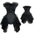 Black White Lace Gothic Overbust Corset Casamento Sexy Vestido Extravagante
