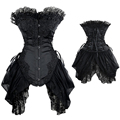 Black White Lace Gothic Overbust Wedding Corset Sexy Fancy Dress