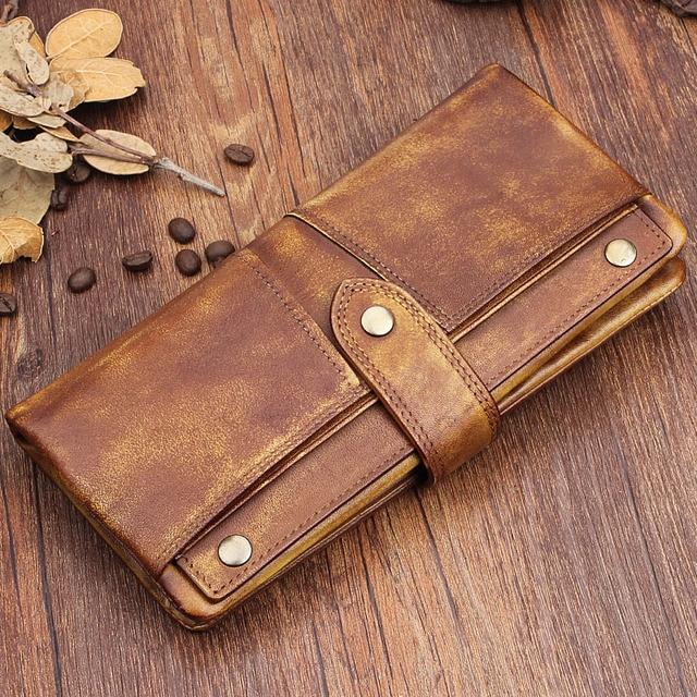 Vintage Handmade Men Wallet Genuine Leather Clutch Phone Bag Real Cow Leather Purse Card Holder Male Wallet Zipper Luxury Walet