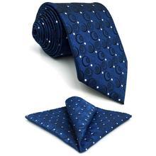 A35 Navy Silver Geometric Mens Ties Necktie Silk Fashion Wedding Dress Neckties for Men Brand New Novelty Tie male Handmade