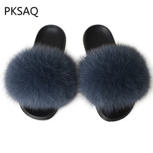 Summer Women Flat Casual Real Fox Fur Slippers Hair Sandals Ladies Furry Outdoor Flip Flops Fluffy Shoes Plush House
