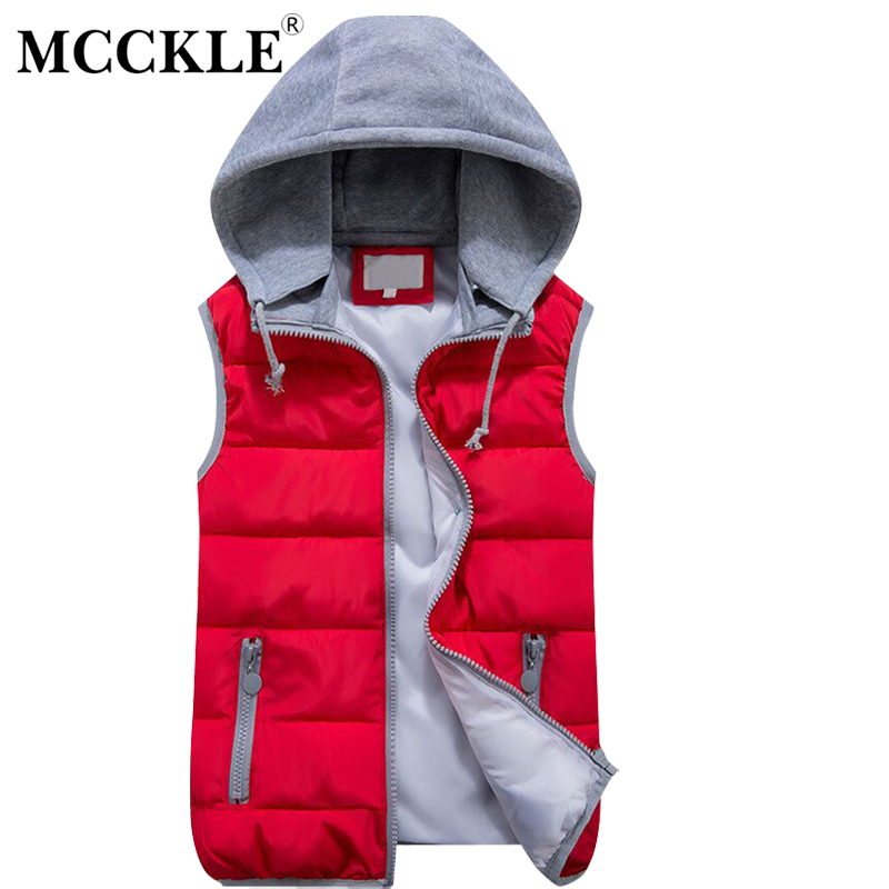Chinese KongFu Store MCCKLE 2017 Women Clothes Collar Hooded Down Vest Removable Hat Zipper Pockets Solid Jacket Female Winter Outerwear Plus Size