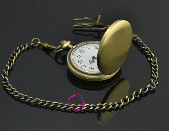 wholesale new fashion silver quartz men pocket watch man arabic roman number fob watches smooth surface hour gift dual display