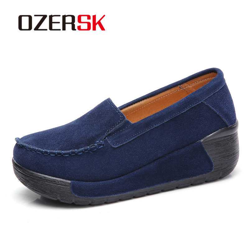 OZERSK Brand Autumn Flat Platform Sneakers   Leather     Suede   Moccasins Shoes Thick Bottom New Comfortable Casual Shoes Woman