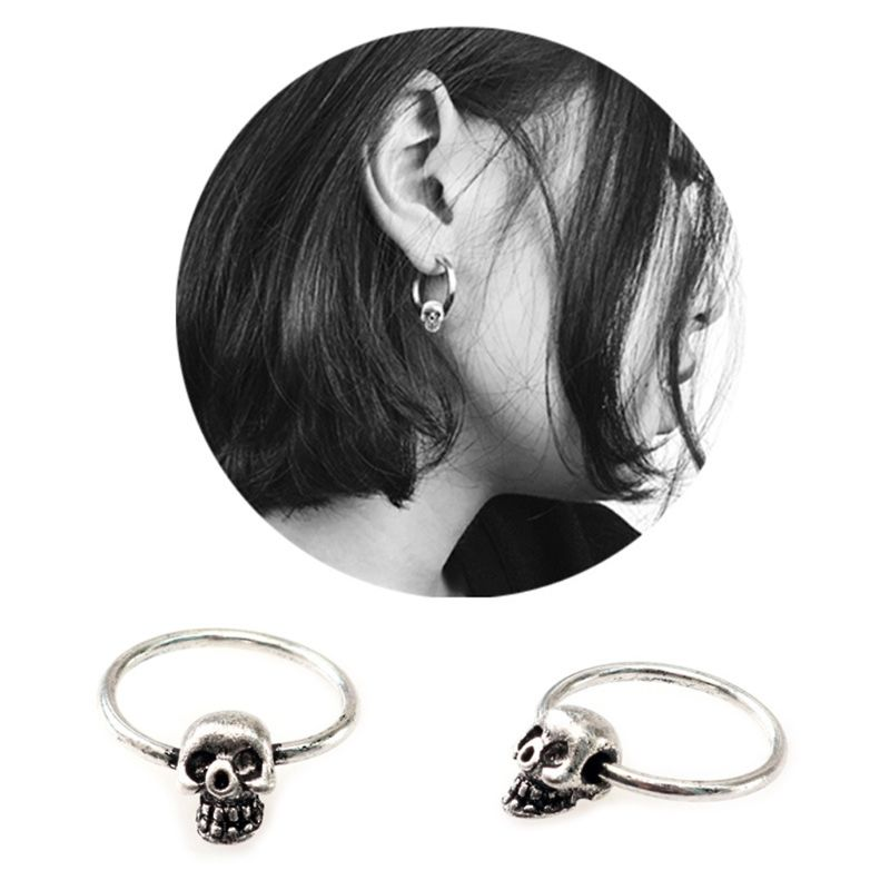 Ornaments Party Rings Punk Earrings Ring Skull Head Fashion Luxury Fashion Stylish Creative Women Jewelry Charms Gifts Pendant