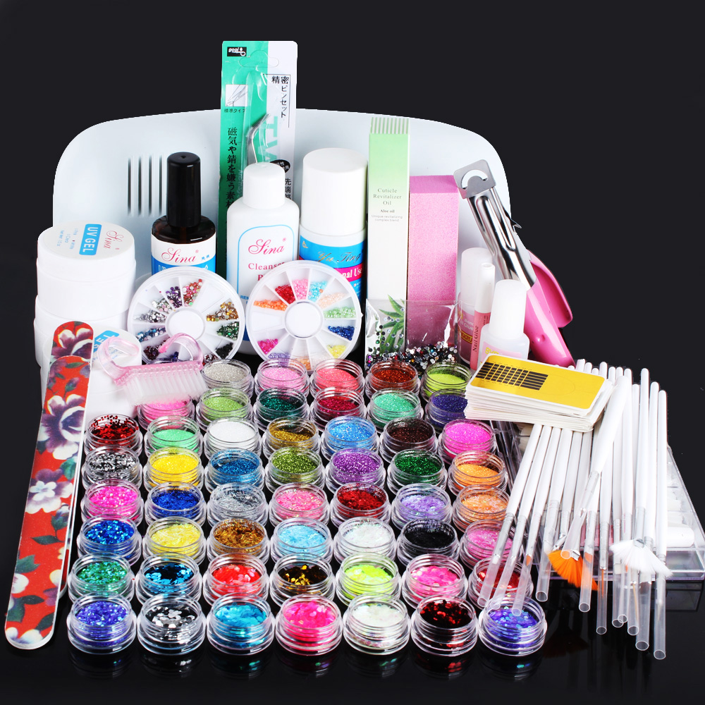 Nic-138 Pro Nail Polish EU/US Plug 9w UV Lamp Gel Cure Glue Dryer 54 Powder Brush Set Kit at free shipping btt 138 pro nail polish eu us plug 9w uv lamp gel cure glue dryer 54 powder brush set kit at free shipping