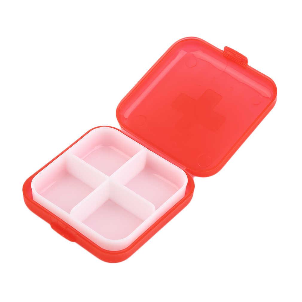 新 1 個折りたたみビタミン医学医薬品ピルボックス化粧収納ケースコンテナ 4 スロットケース収納家庭医学健康ホット Sel
