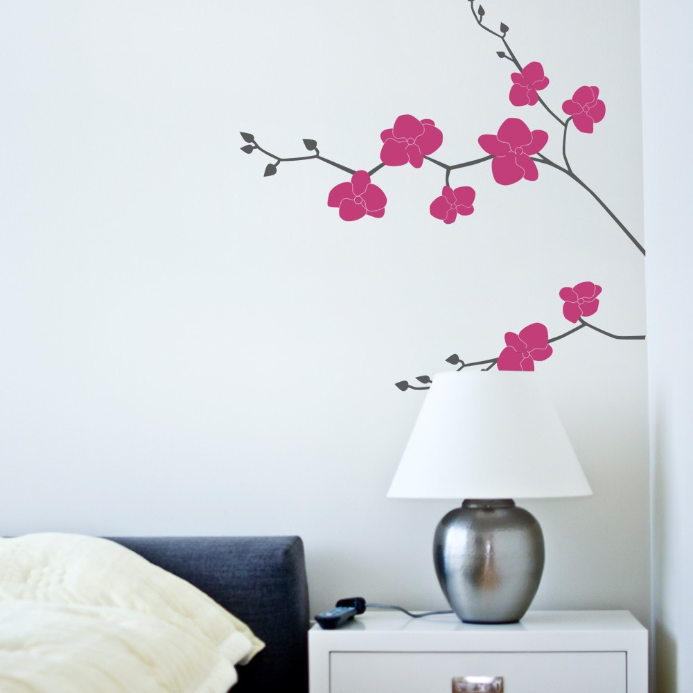 Orchid flower wall decal nature vinyl custom color wall stickers home decor living room bedroom kids room decor wall tattoo a409