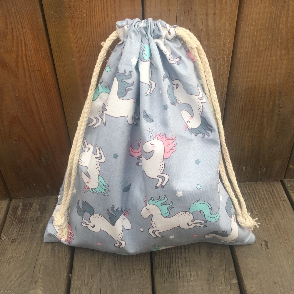 YILE 1pc Cotton Twill Drawstring Pouch Organizer Party Gift Bag Print Unicorn Gray Base YL9415d