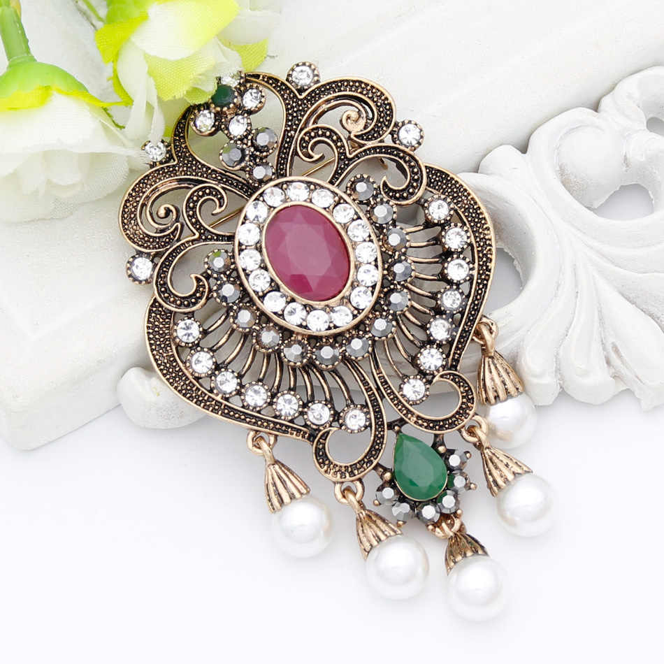 993115d917 Vintage Egyptian Women Resin Simulated-Pearl Flower Brooch Pin Turkish  Jewelry Antique Gold Color Bridal Wedding Ethnic Corsage