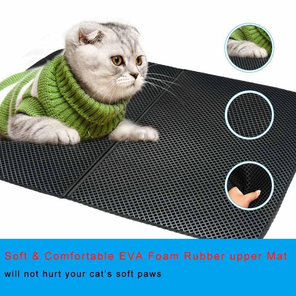 Su geçirmez Pet kedi kumu matı çift katmanlı çöp kedi pedleri yakalama Pet kum kabı Mat evcil hayvan ürünleri yatak kediler için ev temiz