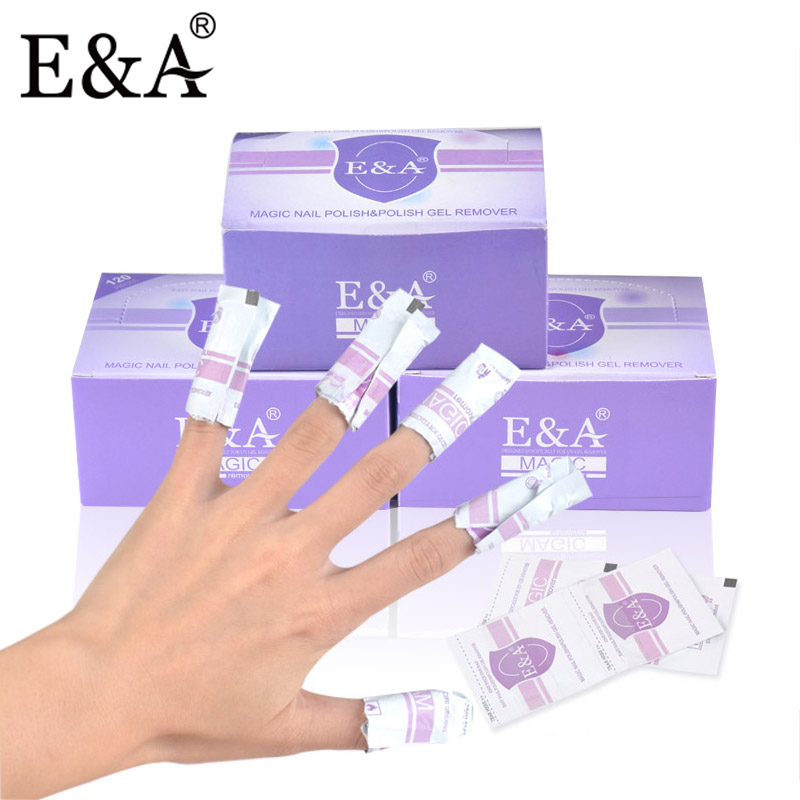 E&A Acetone Nail Polish Remover Disposable Nail Gel Polish Remover Wraps Easy Wipe Pad Packing of 120pcs packaging and labeling