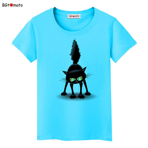 BGtomato Summer Tops Funny 3D CAT Print Women T-Shirt Female Camisetas Tops Loose Cartoon T Shirt Short Sleeve O-Neck Tees Tops Multan