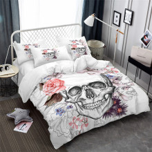 3Pcs Sugar Skull Bedding Set Pink Rose Floral Print Duvet Cover King Queen Bed Pillowcase Festival Gift Bedclothes