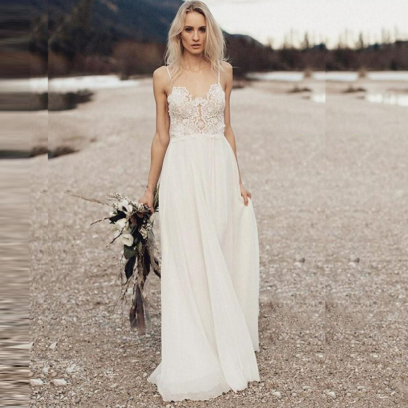 SOFUGE Beach Wedding Dress With Spaghetti Straps 2019 Vestido De Noiva Vitage Lace Top Chiffon Boho Bridal Dresses Sweep Train