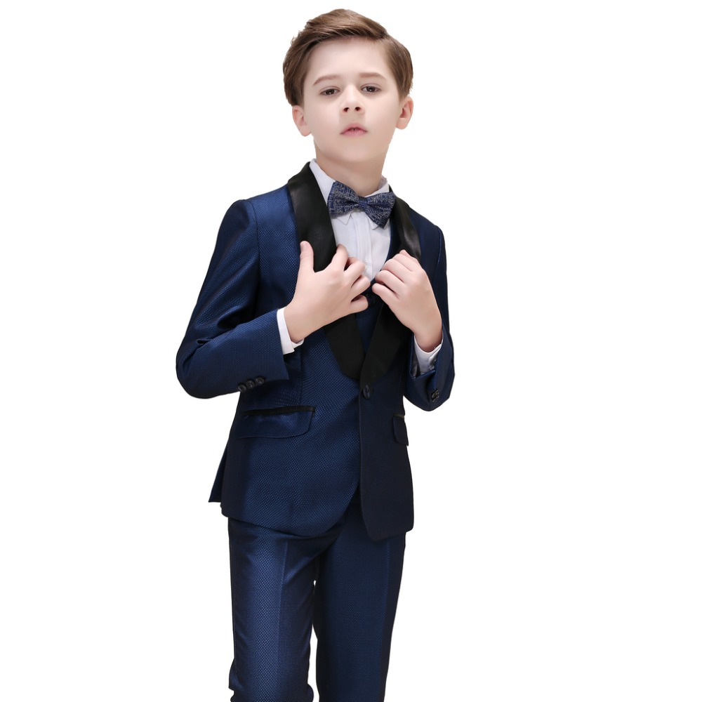 5 Piece Boys Dark Blue Suits Slim Fit Ring Bearer Blue Suit For Boys Formal Classic Costume Weddings цена 2017