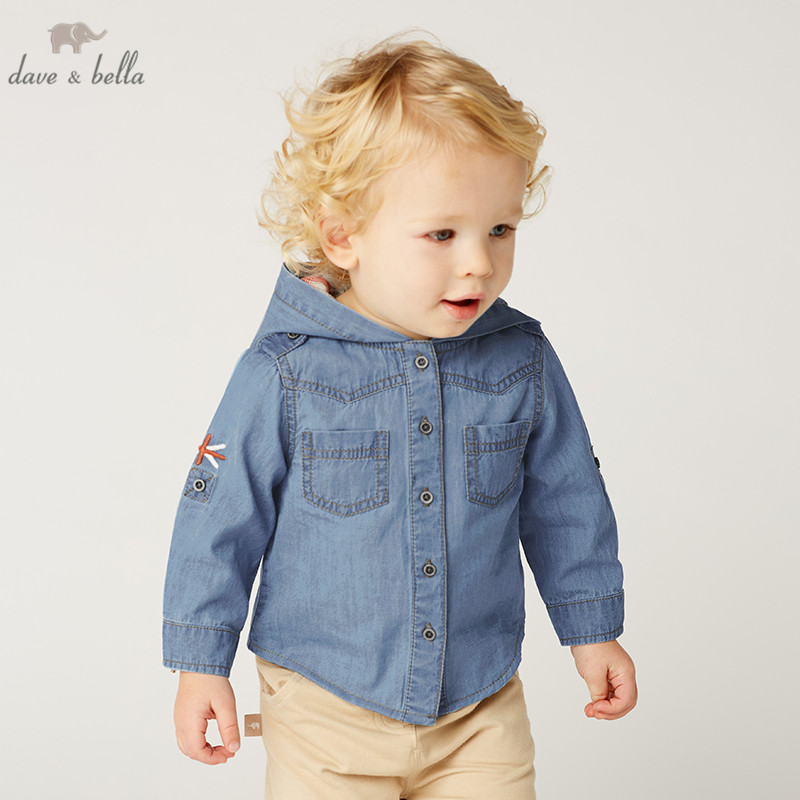 DBA9505 dave bella spring baby boys fashion hooded shirt children tops infant toddler hooded tops