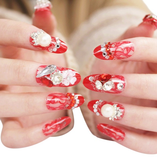 Women S Fashion Nails Bride Manicure Series Diamond 24 Tablets Nail Paste Tooropping
