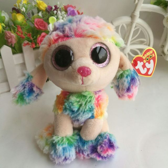 a9d52d6c5a9 RAINBOW multicolor poodle Dog TY BEANIE BOOS 1PC 15CM Plush Toys Stuffed  animals children toy SOFT