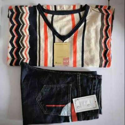 2019 весенний женский комплект из 2 предметов, большой размер 3XL, женский полосатый свитер с длинным рукавом, Тонкий Свободный Вязаный топ, брюки, костюмы из двух предметов, джинсы