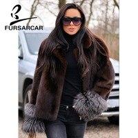 FURSARCAR New Arrival Real Mink Fur Coat Women Short Genuine Leather Jacket With Silver Fox Fur Cuff Luxury Mink Fur Outwear