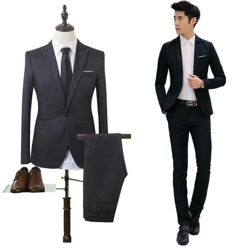 男性の高級ドレススーツ男性のスーツ、カジュアル、ビジネスベストマンを着用ドレス卒業ガウンセットシングルブレストスリムフィット