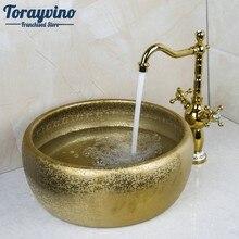 Double Handle Faucet Round Paint Golden Bowl Sinks / Vessel Basins Washbasin Ceramic Basin Sink & Faucet Tap Set 46049836(China)