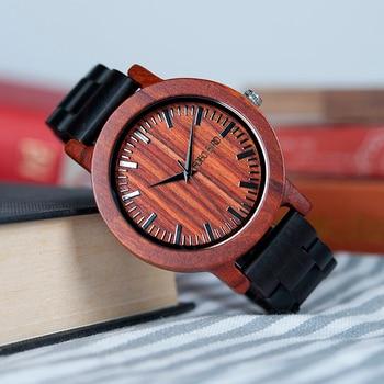 Wood Watch Case | BOBO BIRD WM05 Men Women Wooden Watches Red Sandalwood Case Scale Dial Ebony Wooden Band Quartz Watch Brand Designer OEM