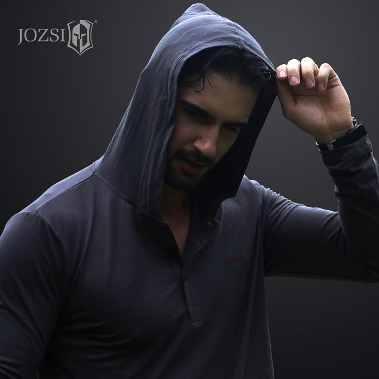 JOZSI Long Sleeve T Shirt Male Solid Color V Collar Tops Sweatshirt Breathabel Shirt Men Cotton Tops Tees Anti-UV Hooded