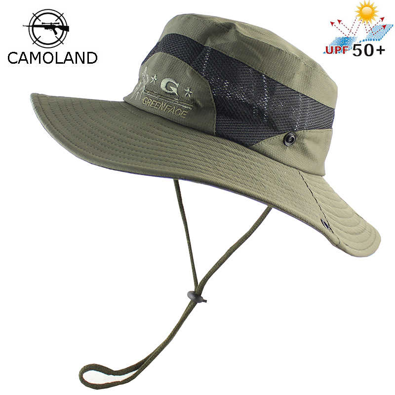 UPF 50+ Foldable Bucket Hat Men Women Boonie Hat Outdoor UV Protection Wide Brim Military Army Mesh Breathable Tactical Sun Hat