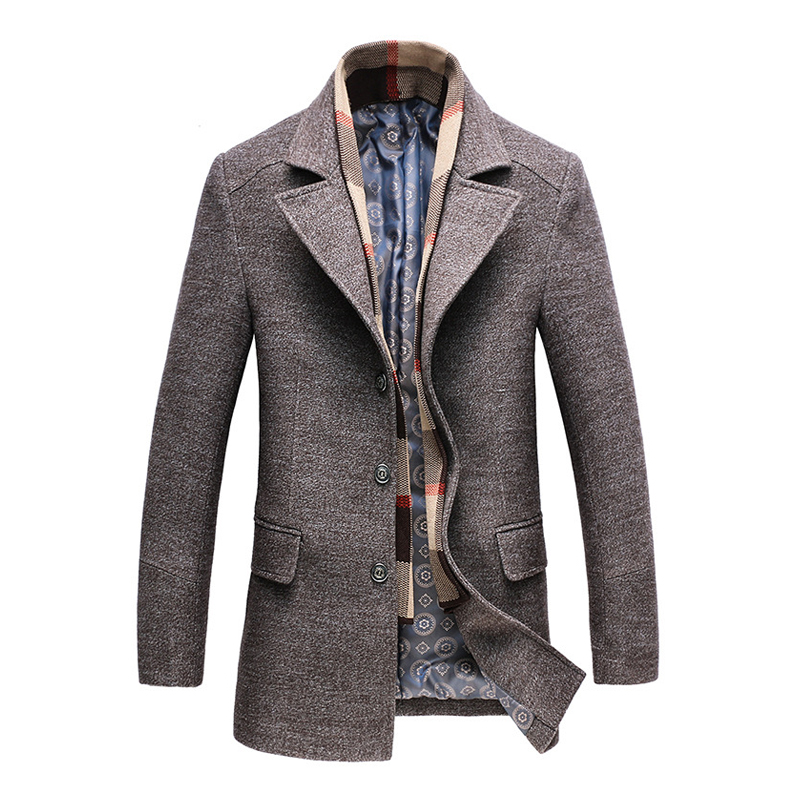 2018 Winter Men's Casual Wool Coat Fashion Business Long Thicken Slim Woolen Overcoat Jacket Male Peacoat Brand Clothes 1717