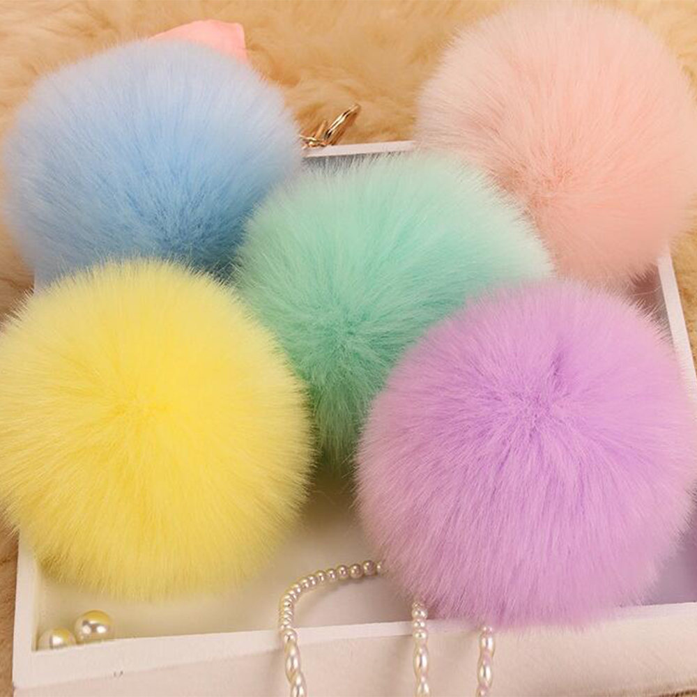Lovely Trinkets Rabbit Ear Fur Ball Key Chain Rings Pendant Cute Pompom Artificial Bunny Fur Keychain Women Car Bag Key Ring