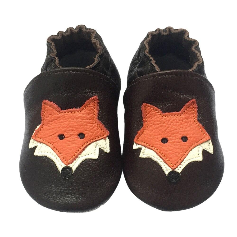 Cute Cartoon Fox Niño Zapatos infantiles Cuero 0-24M Soft Bottom - Zapatos de bebé