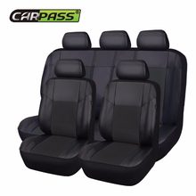 Car-pass Universal Leather Pu Car Seat Cover Black Beige Blue Seat Covers For All Cars Car Seat Protector(China)