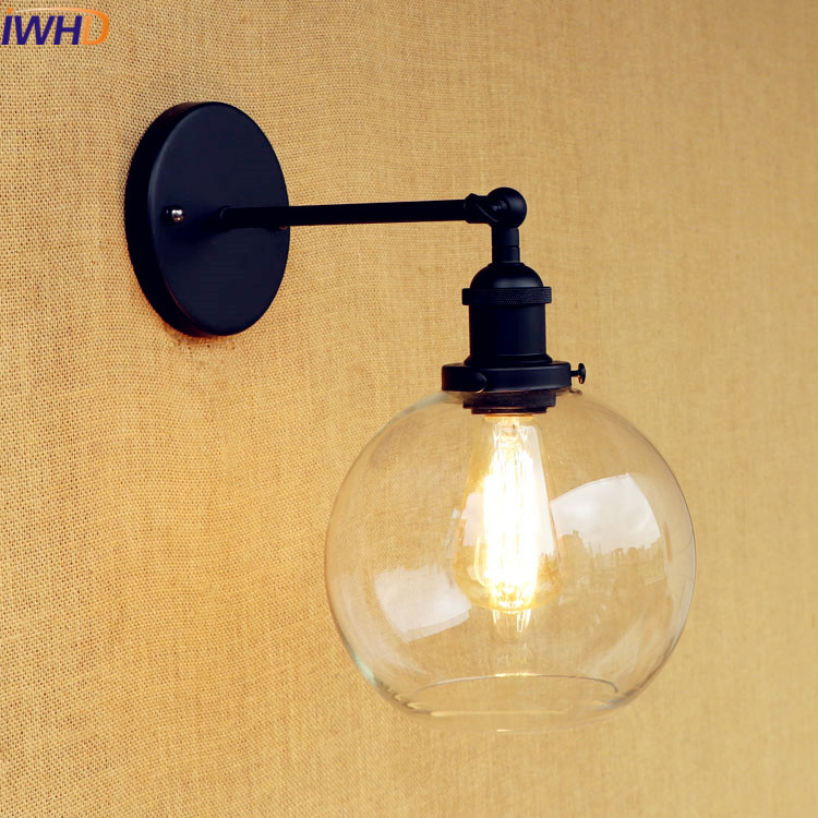 IWHD Swing Arm Sconce Vintage Wall Lamp Loft Retro Glass Lampshade Wandlamp Black Iron LED Wall Light Up Down Lighting Stairs 100