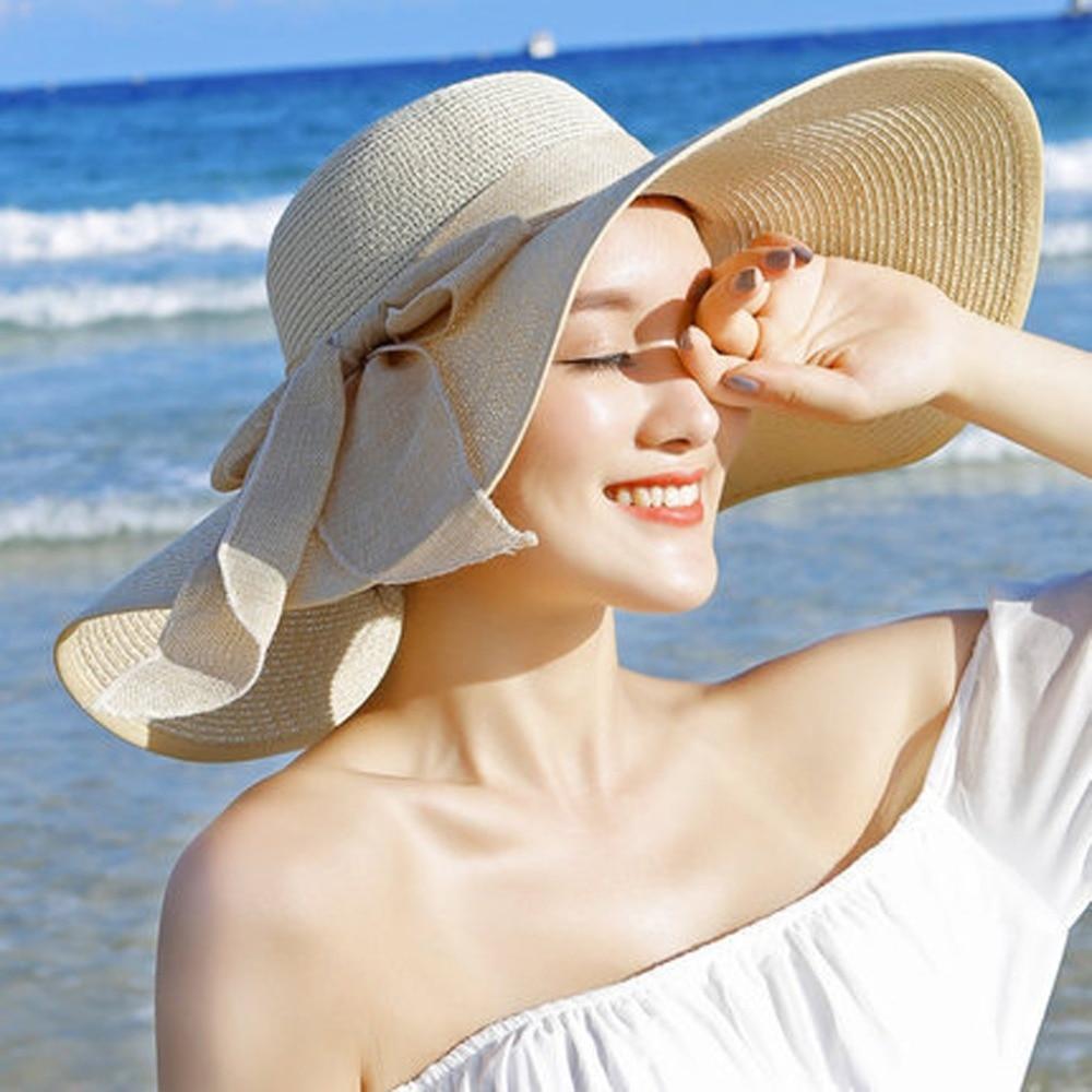 Women Lady Floppy Summer Beach Wide Brim Straw Sun Hat Big Bowknot Foldable Cap
