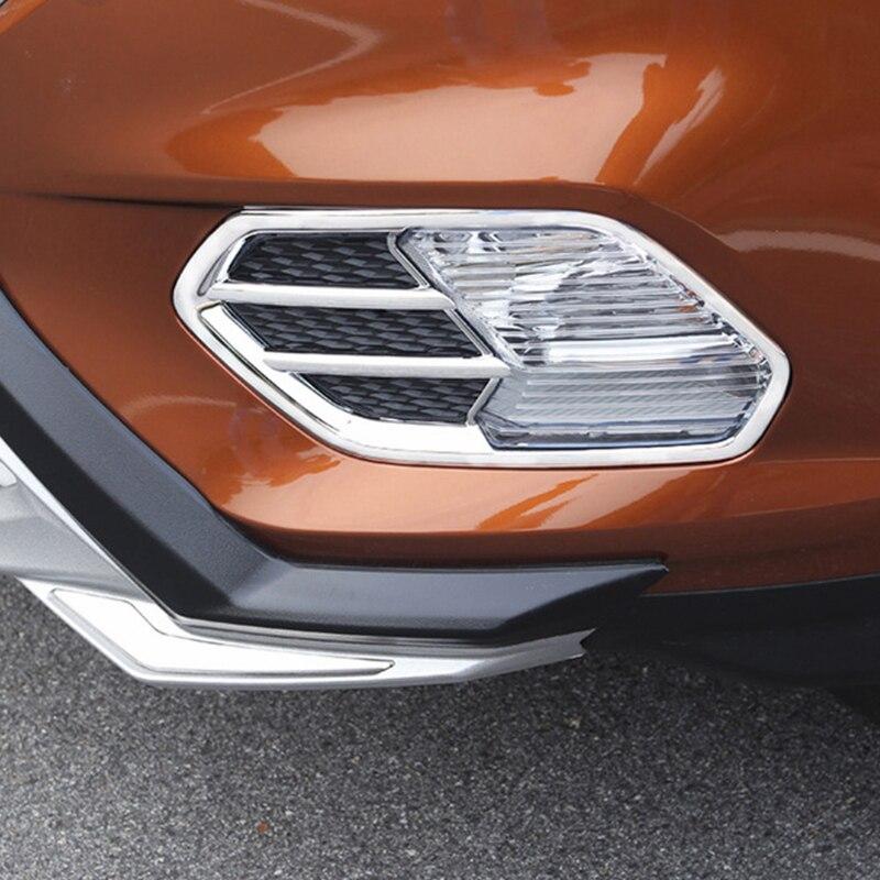 Chrome Front Head Fog Light Foglight Lamp Cover For Ford Escape Kuga 2017 2018 Trim Bumper Molding Garnish Bezel Decoration