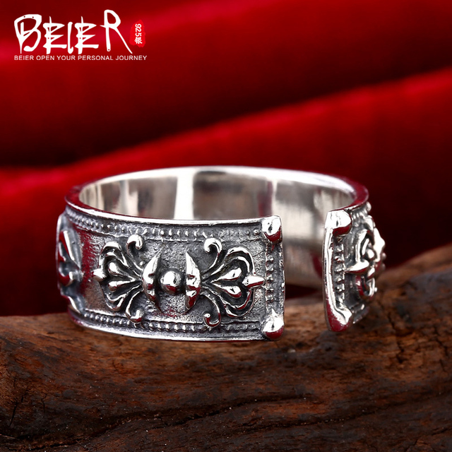 Beier 925 silver sterling jewelry 2015 gothic punk man ring anchor om main padme hun man ring opening   D0997