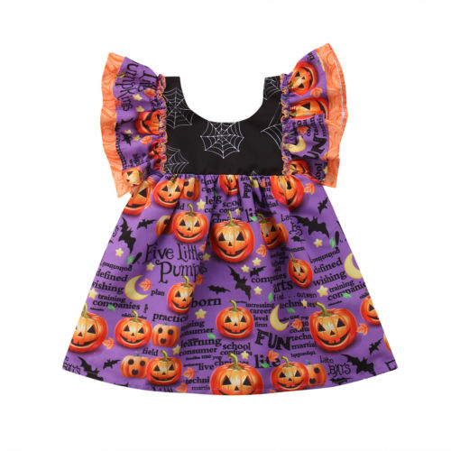Princess Toddler Baby Girl Pumpkin Petal Sleeves Dress Party Halloween Festival Pretty Cute Dress Clothes 1-6Y цена