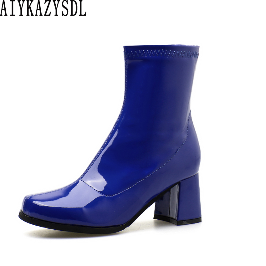 AIYKAZYSDL Women Vinyl Glossy Leather Boots Faux Patent Leather Square Toe Ankle Boots Square Block Thick High Heel Shoes Bootie hongyi women motorcycle biker ankle boots glossy leather rhinestone crystal ridding bootie bow butterfly knot shoes thick heels