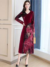 2019 Spring New Long Women's Fashion Elegant Slim Slimming Print V-neck Long-sleeved High Waist A-line Dress v neck long sleeved abstract striped slimming dress