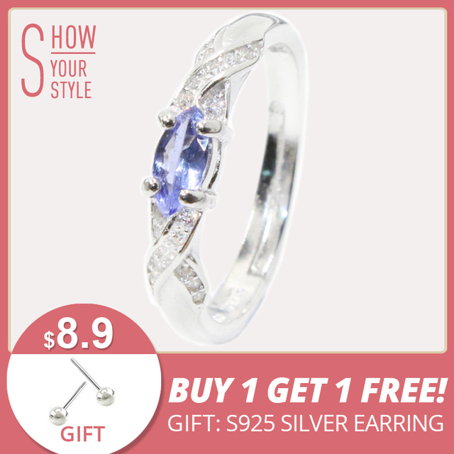 Fashion tanzanite silver ring 3 mm * 6 mm natural VS tanzanite ring for girl sol