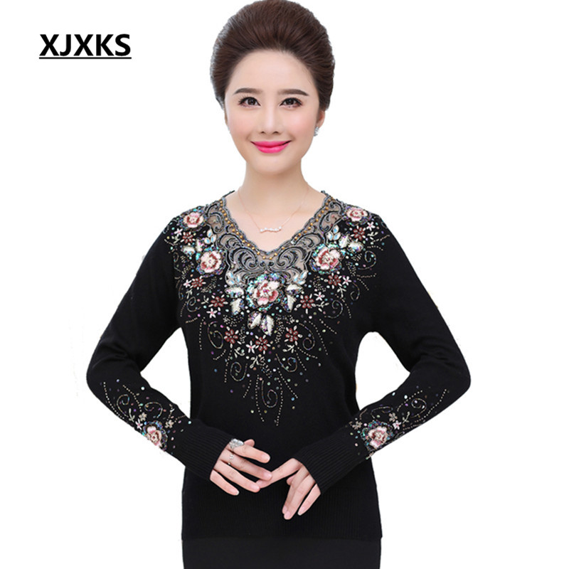 XJXKS Sexy V neck Women Pullovers And Sweaters 2019 Flowers Embroidery And Beading Plus Size Comfortable