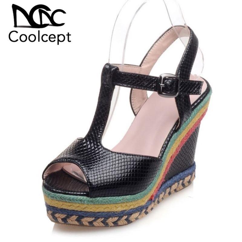 Cuñas Peep Cuero Toe Diario Altos Zapatos Mujer Tacones Hebilla Pu Coolcept 4 Color Sandalias kNZOX8n0wP